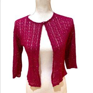 Zoe dark raspberry sequin open front shrug